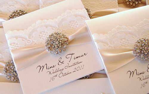 The Opulence vintage wedding collection. Sparkly luxury wedding invitations. Lace wedding stationery