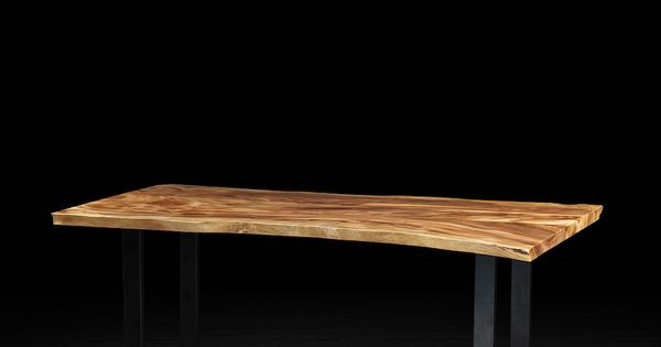 Freeform dining table made of suar with metal legs for Meuble artemano