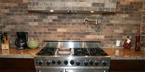 Faux Brick Tile Backsplash In The Kitchen Brick Tile Backsplash