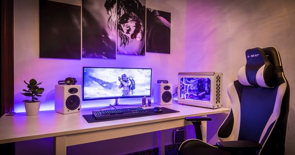 Clean single monitor setup white purple and black theme for Room decorating ideas game girl