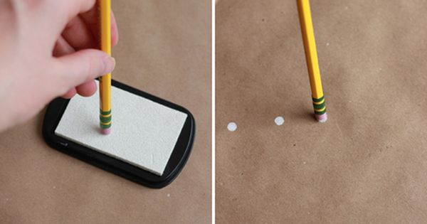 how to make polka dot wrapping paper with an eraser. Gift wrap.