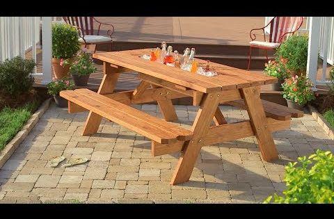 C mo crear una mesa de picnic con hielera youtube yard for Bancas para jardin de madera