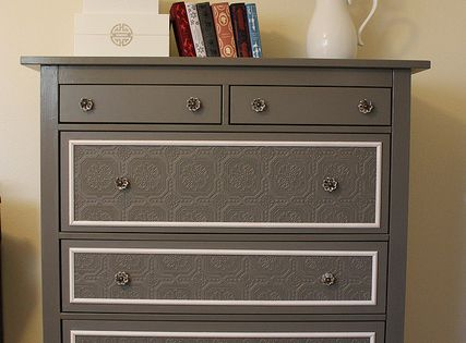 Dresser re-do. Modge podge lace onto the front of the drawers &