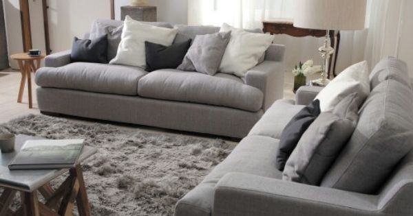 Plush Sofa 2 Seater Lounge Set Deep Seater Grey