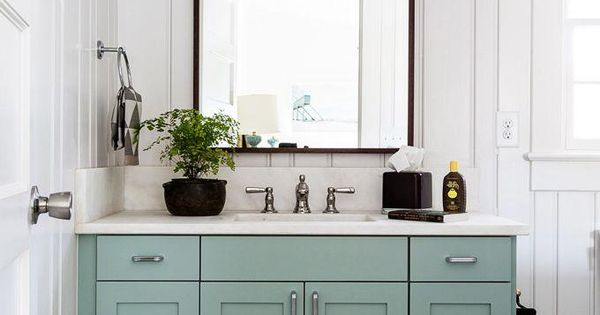 Love This Minty Almond Green Cabinet Under The Marble Sink