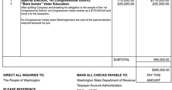 Dear Mr Inslee Please Find The Invoice In The Amount Of