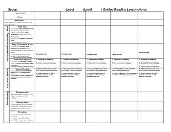 Weekly Scaffolded Guided Reading Lesson Plan Template Guided