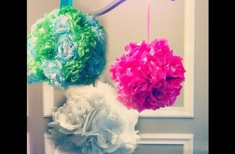 Easy way to make tissue paper flower balls pomanders