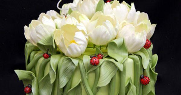Tulip Wedding Shower Cake by Pink Cake Box