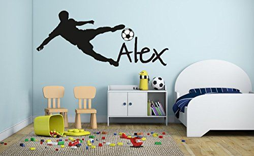 Custom Name Soccer Player Boy Girl Mural Baby S Mural Room Vinyl World Cup Wall Decal With Images Kids Room Wall Stickers