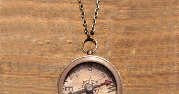 Compass Necklace Brass