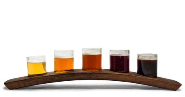 Portland Reclaimed Wood Beer Flight Holder 5 Glasses