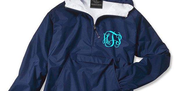 navy monogrammed personalized half zip rain jacket pullover by charles river apparel on etsy