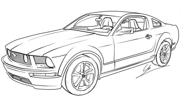 Drawing Mustang Coloring Page Practical Scrappers Mustang Drawing Cars Coloring Pages Coloring Pages