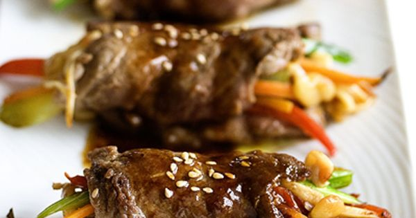 Mmm---Martin Yan's Pan Seared Steak Rolls from Jaden Hair's Steamy Kitchen. Like