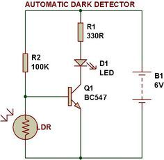 Dark Light Sensor Using Transistor With Images Electronic Schematics Electronic Circuit Projects Transistors