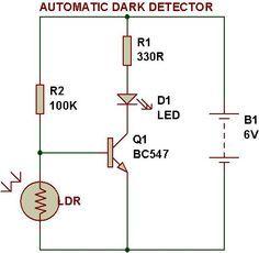 Dark Light Sensor Using Transistor Electronic Circuit Projects Electronic Schematics Light Sensor