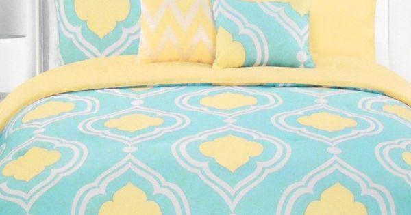 modern master bedroom with threshold seersucker duvet cover set | AQUA YELLOW MOROCCAN QUEEN DUVET COVER 3pc SET MAX STUDIO ...