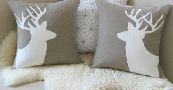 Modern Moose Pillows : Deer Pillow Cover Pair, Alpine Chic, Mocha & Ivory Stag Antlers Applique Silhouettes, Rustic ...