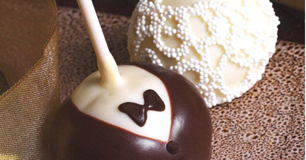 Mini Wedding Brownie Pops. Also seen this done with Candy Apples. Either