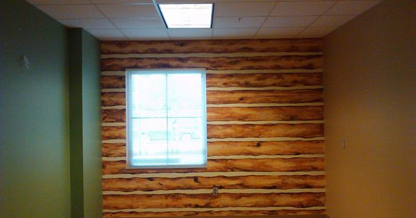 Faux Log Cabin Wall Acrylic On Base Of Painted Concrete