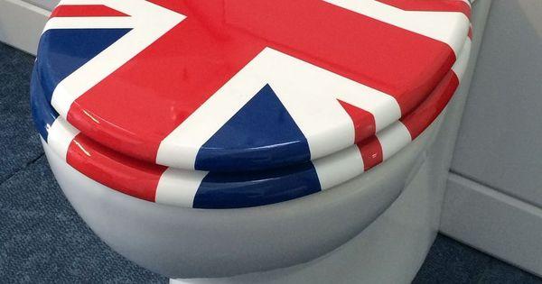 QUALITY UNION JACK FLAG TOILET SEAT WITH ADJUSTABLE CHROME BAR HINGE BATHROOM