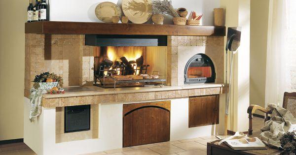 Camino con forno a legna rustico cerca con google - Cucina rustica con camino ...