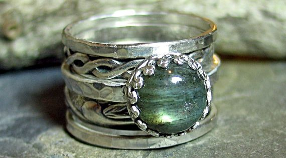 Labradorite Stacking Rings Set of 5 in Sterling by LavenderCottage