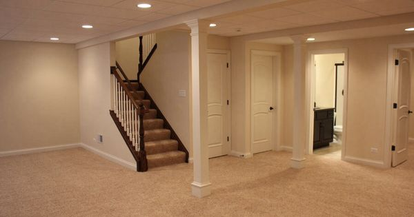 Basement Stair Ceiling Lighting: Basement (drk Hardware, Painted Stairs, Light Walls