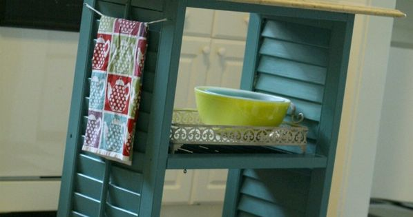 Mini kitchen island made from thrifted window shutters. Shutter craft accordion door
