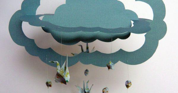Items similar to Origami Hanging Mobile - Handmade 3D Cloud, Paper Cranes