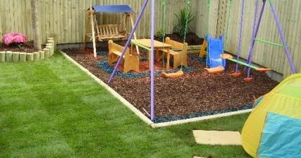 Sodded edged with wood and wood chips for kids play area for Garden area ideas