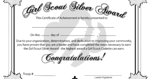 girl scout award certificate templates - free printable bronze silver and gold award certificates