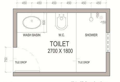 5ft x 8ft standard small bathroom floor plan with shower Small
