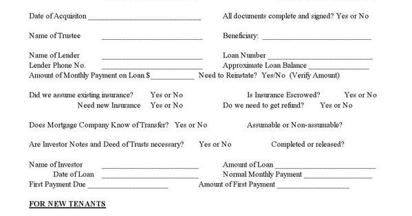 sample printable new propertynew tenant information form