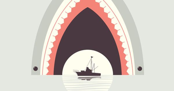 #art illustration shark boat