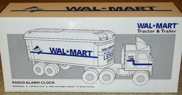vintage wal mart tractor trailer novelty am fm radio alarm clock imported and manufactured by. Black Bedroom Furniture Sets. Home Design Ideas