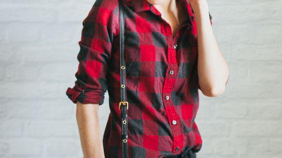 Red black plaid shirt black pants
