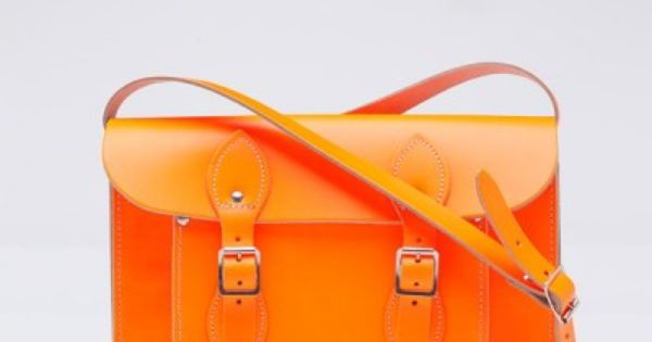 Dayglow Orange Leather Satchel