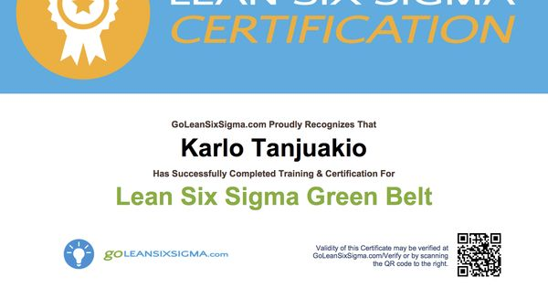 exle of goleansixsigma s green belt certificate