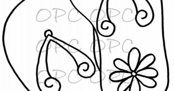 simple flip flop coloring pages