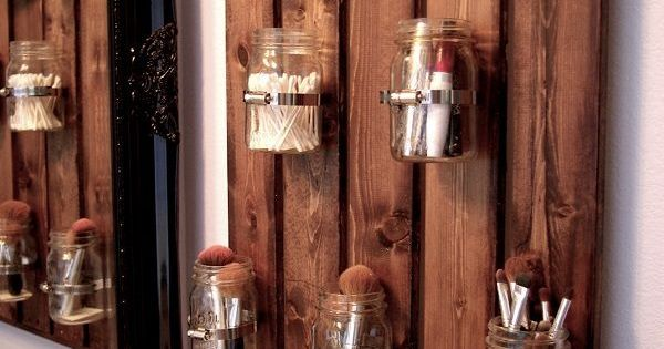 marmeladengl ser holzpalette bad aufbewahrung schminksachen bad pinterest gl ser. Black Bedroom Furniture Sets. Home Design Ideas