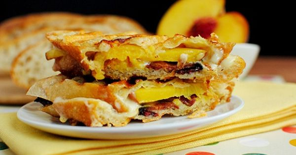 Bacon, Cheese Peach Paninis by iowagirleats Panini Bacon Peach iowagirleats
