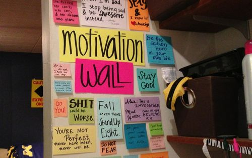 motivation wall for dorm room... good idea!
