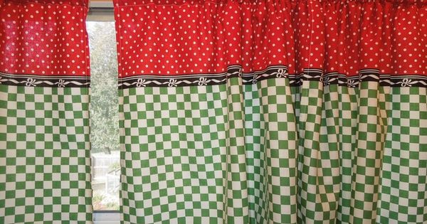 Retro kitchen curtains 1950s diner style four panels for Diner style curtains