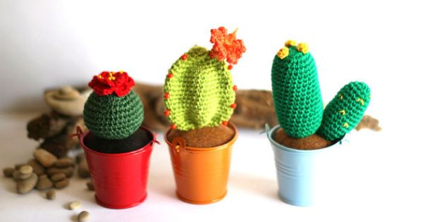 Crochet Blooming Cactus In Colorful Tin Pails Plants Home