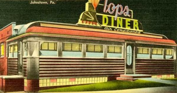 Johnstown Pa Top S Diner Neon Signage Postcard Print Johnstown Vintage Diner Postcard
