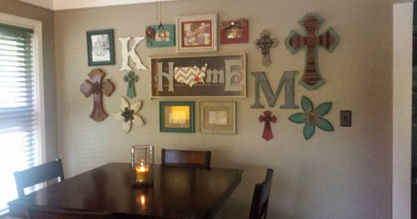 Dining Area Gallery Wall Colorful Country Decor Crosses