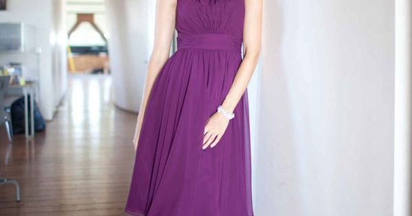 Ruffled Scoop Neck Knee Length Chiffon A Line Party Dress