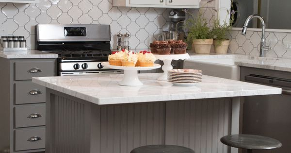 """As seen on HGTV's """"Fixer Upper."""" Love the gray beadboard and white"""